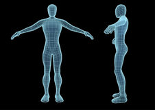 Wireframe man over a black background. Wireframe human figure in blue over a black background. Model seems to be semi transparent as if it was an hologram Royalty Free Stock Photos