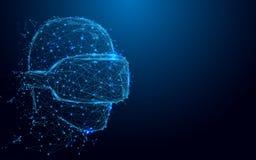 Wireframe-Mann mit VR-Kopfhörer-Zeichenmasche von einem sternenklaren und beginnen oben Konzepthintergrund Zukünftiges Technologi Lizenzfreies Stockbild