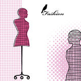 Wireframe mannequin. With pattern and bird - fashion concept Royalty Free Stock Image