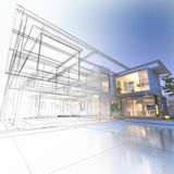 Wireframe mansion Royalty Free Stock Photo