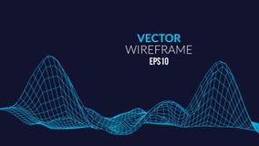 Wireframe-Masche Landschaftshintergrund Futuristische Landschaft mit Linie Gitter Niedriges Poly-3D Wireframe Diagramm Netz Cyber Lizenzfreie Stockfotografie