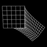 Wireframe Mesh Bend Box. Connection Structure. Digital Data Visualization Concept. Vector Illustration Royalty Free Stock Photos