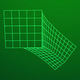 Wireframe Mesh Bend Box. Connection Structure. Digital Data Visualization Concept. Vector Illustration Stock Images