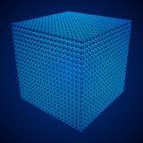 Wireframe Mesh Cube Imagen de archivo
