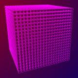 Wireframe Mesh Cube Foto de archivo libre de regalías