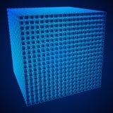 Wireframe Mesh Cube Fotografía de archivo