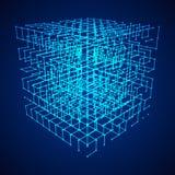 Wireframe Mesh Cube illustration stock