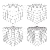 Wireframe Mesh Cube Imágenes de archivo libres de regalías