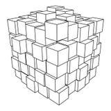 Wireframe Mesh Cube Fotografía de archivo libre de regalías