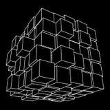 Wireframe Mesh Cube Fotografie Stock Libere da Diritti