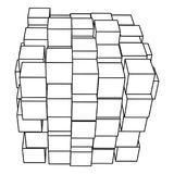 Wireframe Mesh Cube Immagine Stock