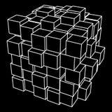 Wireframe Mesh Cube Fotografia Stock Libera da Diritti