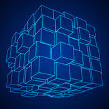 Wireframe Mesh Cube Royalty Illustrazione gratis
