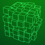 Wireframe Mesh Cube Illustrazione di Stock
