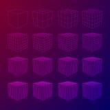 Wireframe Mesh Cube Imagen de archivo libre de regalías