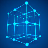 Wireframe Mesh Cube. Connected dots and lines. Connection Structure. Digital Data Visualization Concept. Vector Illustration Stock Photo
