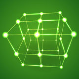 Wireframe Mesh Cube. Connected dots and lines. Connection Structure. Digital Data Visualization Concept. Vector Illustration Royalty Free Stock Images
