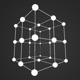 Wireframe Mesh Cube. Connected dots and lines. Connection Structure. Digital Data Visualization Concept. Vector Illustration Stock Photography