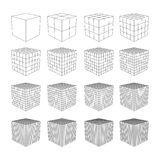 Wireframe Mesh Cube. Wireframe Mesh Cube in Differenr Resolution. Connection Structure. Digital Data Visualization Concept. Vector Illustration Stock Photo
