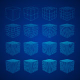 Wireframe Mesh Cube. Royalty Free Stock Photo