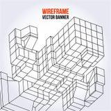 Wireframe Mesh Cubes Lizenzfreie Stockfotografie