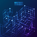 Wireframe Mesh Cubes. Connected dots and lines. Connection Structure. Digital Data Visualization Concept. Vector Illustration royalty free illustration
