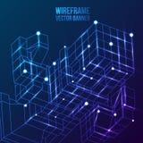Wireframe Mesh Cubes Verbundene Punkte und Linien Stockfoto