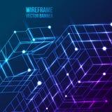 Wireframe Mesh Cubes Verbundene Punkte und Linien Stockbild