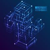 Wireframe Mesh Cubes Verbundene Punkte und Linien Lizenzfreie Stockfotos