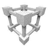 Wireframe Mesh Dotwork Vector Cube Imagen de archivo