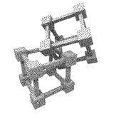 Wireframe Mesh Dotwork Vector Cube Fotografía de archivo