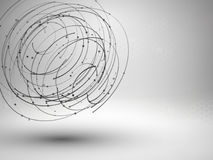 Wireframe mesh element. Abstract swirl form with connected lines and dots. Royalty Free Stock Images