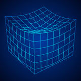 Wireframe Mesh Melt Box. Connection Structure. Digital Data Visualization Concept. Vector Illustration Royalty Free Stock Image