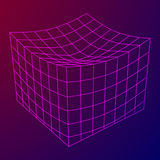 Wireframe Mesh Melt Box. Connection Structure. Digital Data Visualization Concept. Vector Illustration Stock Photo