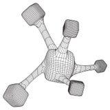 Wireframe Mesh Molecule Lizenzfreies Stockfoto