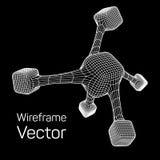 Wireframe Mesh Molecule Lizenzfreie Stockfotos