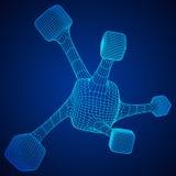 Wireframe Mesh Molecule Lizenzfreie Stockbilder