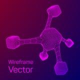 Wireframe Mesh Molecule Stockfoto