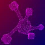Wireframe Mesh Molecule Lizenzfreies Stockbild