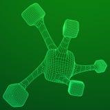 Wireframe Mesh Molecule Stockfotografie