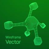 Wireframe Mesh Molecule Stockbild