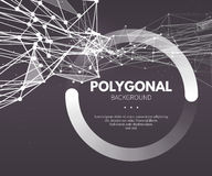 Wireframe mesh polygonal background. Wave with Royalty Free Stock Photos
