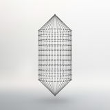 Wireframe mesh Polygonal capsule. The capsule of. Polygonal capsule. The capsule of the lines connected dots. Atomic lattice. Driving constructive solution tank Royalty Free Stock Photo