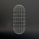 Wireframe mesh Polygonal capsule. The capsule of. Polygonal capsule. The capsule of the lines connected dots. Atomic lattice. Driving constructive solution tank Royalty Free Stock Image