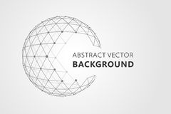 Wireframe mesh polygonal element. Sphere with connected lines and dots.  Royalty Free Stock Photography