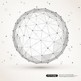 Wireframe mesh polygonal element. Sphere with. Connected lines and dots. Connection Structure. Geometric Modern Technology Concept. Digital Data Visualization Royalty Free Stock Image