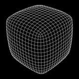 Wireframe Mesh Rounded Box royalty-vrije illustratie