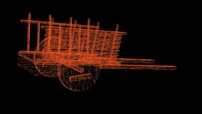 Wireframe model of antique wooden cart stock footage