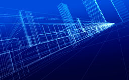 Wireframe of office buildings Royalty Free Stock Photos