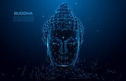 Wireframe poli da silhueta principal da Buda baixo Conceito tailandês com buddha, baixo estilo poli da cultura O wireframe poligo ilustração royalty free